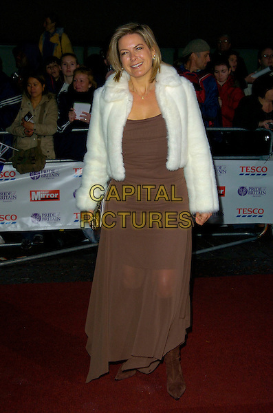 PENNY SMITH.Pride of Britain Awards, The London Studios.9th October 2007 London, England.full length fur jacket brown dress white .CAP/CAN.©Can Nguyen/Capital Pictures
