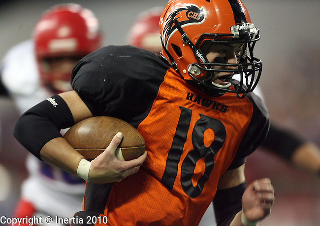VERMILLION, SD - NOVEMBER 11: Sam Jolley #18 of Canistota runs in from 9 yards for a touchdown against Hitchcock Tulare during the second quarter of the Class 9B Football Championship game Thursday afternoon at the DakotaDome in Vermillion. (photo by Dave Eggen/Inertia)