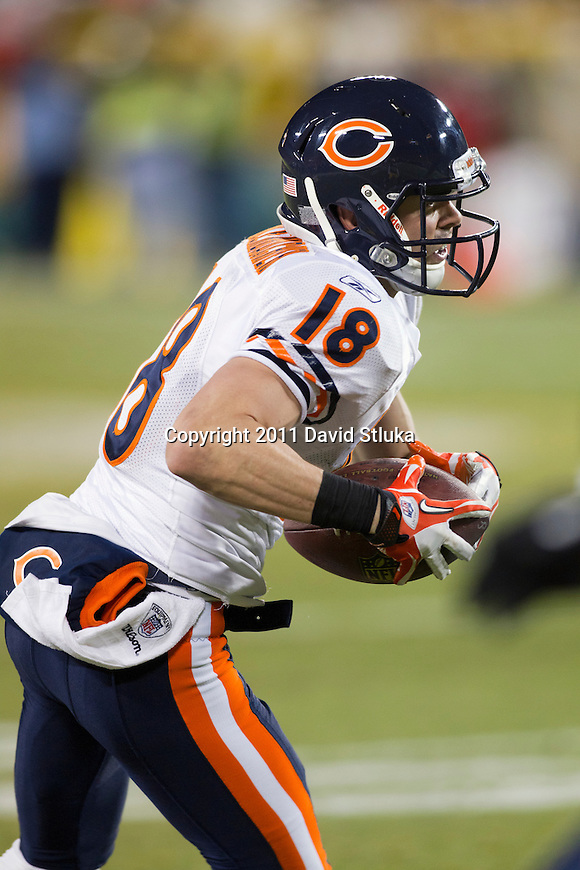Chicago Bears wide receiver Dane Sanzenbacher (18) carries the ball during a week 16 NFL football game against the Green Bay Packers on December 25, 2011 in Green Bay, Wisconsin. The Packers won 35-21. (AP Photo/David Stluka)
