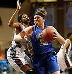 SIOUX FALLS MARCH 22:  Victoria Lux #32 of Bentley drives on Taylor White #25 of Virginia Union during their quarterfinal game at the NCAA Women's Division II Elite 8 Tournament at the Sanford Pentagon in Sioux Falls, S.D. The ball bounced off the rim as Bentley won 53-52. (Photo by Dick Carlson/Inertia)