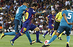 Leo Messi in action during Supercopa de España game 1 between FC Barcelona against Real Madrid at Camp Nou