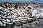 Unusual color infrared image of dry riverbed at Death Valley's Zabriskie Point
