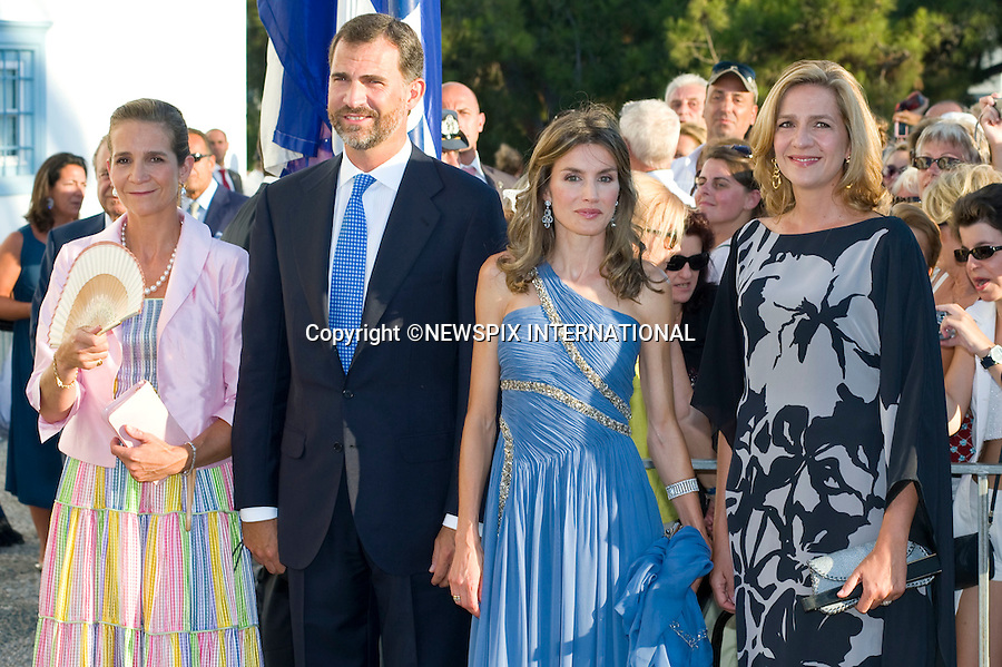 "Princess Letizia, Prince Felipe of Asturias, Infanta Cristina and Princess Elena_.The Wedding of Prince Nikolaos and Tatiana Blatnik attended by many members of European Royalty at St Nikolaos Church on the Island of Spetses_Grecce_24/08/2010.Mandatory Credit Photo: ©DIAS-NEWSPIX INTERNATIONAL..**ALL FEES PAYABLE TO: ""NEWSPIX INTERNATIONAL""**..IMMEDIATE CONFIRMATION OF USAGE REQUIRED:.Newspix International, 31 Chinnery Hill, Bishop's Stortford, ENGLAND CM23 3PS.Tel:+441279 324672  ; Fax: +441279656877.Mobile:  07775681153.e-mail: info@newspixinternational.co.uk"