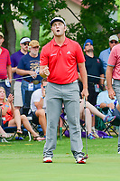 Jon Rahm (ESP) reacts to sinking his birdie putt on 14 during round 4 of the Dean &amp; Deluca Invitational, at The Colonial, Ft. Worth, Texas, USA. 5/28/2017.<br /> Picture: Golffile | Ken Murray<br /> <br /> <br /> All photo usage must carry mandatory copyright credit (&copy; Golffile | Ken Murray)