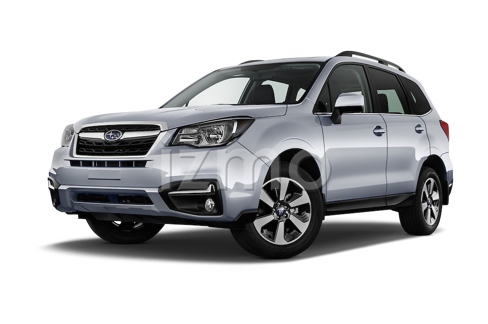 Stock pictures of low aggressive front three quarter view of 2018 Subaru Forester 2.5i-Limited-CVT 5 Door SUV Low Aggressive