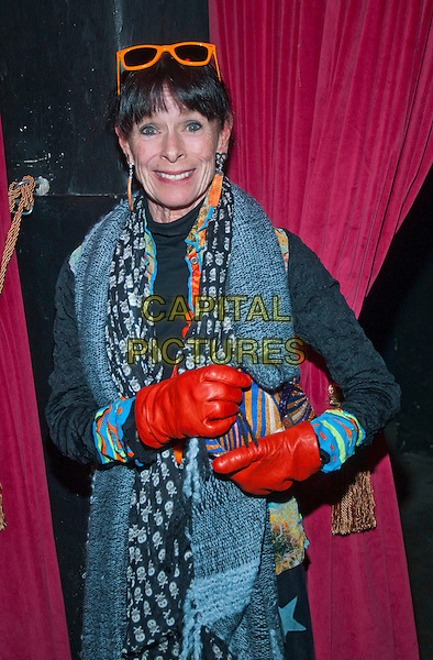 Geraldine Chaplin .attends the Medienboard christmas party, Berlin, Germany..December 6th, 2011.half length black grey gray print scarf coat jacket red gloves.CAP/PPG/NK.©Norbert Kesten/People Picture/Capital Pictures