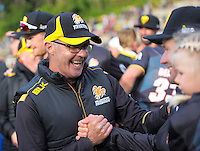 Firebirds coach Bruce Edgar celebrates winning the McDonalds Super Smash Twenty20 cricket final between the Central Stags and Wellington Firebirds at Pukekura Park in New Plymouth, New Zealand on Saturday, 7 January 2017. Photo: Dave Lintott / lintottphoto.co.nz
