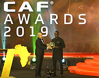 January 7th 2020, Hugharda, Egypt;  Senegalese football player Sadio Mane R receives the Player of the Year award during the 28th Confederation of African Football CAF Awards in Hurghada, Egypt, on Jan. 7, 2020.