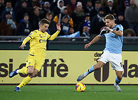 Football, Serie A: S.S. Lazio - Hellas Verona, Olympic stadium, Rome, February 5, 2020. <br /> Lazio's Ciro Immobile (r) in action with Hellas Verona's Darko Lazovic (l) during the Italian Serie A football match between S.S. Lazio and Hellas Verona at Rome's Olympic stadium, Rome, on February 5, 2020. <br /> UPDATE IMAGES PRESS/Isabella Bonotto