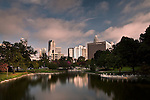 Charlotte NC, Sunrise over Marshall Park in uptown, with the Charlotte NC skyline in the Background
