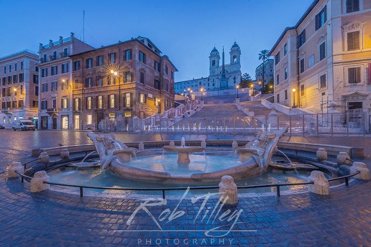 Europe, Italy, Rome, Spanish Steps at Dawn