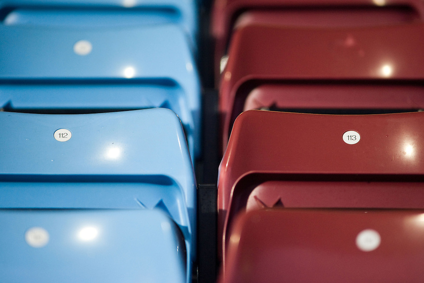 A close up of both blue and red (claret) seats at Scunthorpe United's Glanford Park ground..Football - npower Football League Division One - Scunthorpe United v Preston North End - Tuesday 23rd October 2012 - Glanford Park - Scunthorpe..