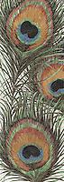 Peacock, a handmade jewel glass mosaic, is shown in Obsidian, Jasper, Tortoise Shell, Peacock Topaz, Peridot, Carnelian, Tiger's Eye, Aventurine, Malachite and Opal.