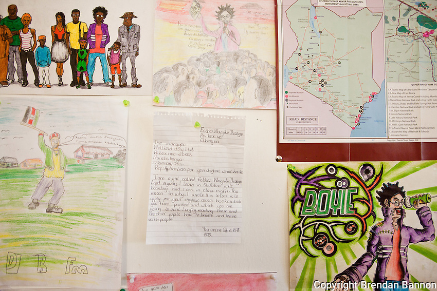 Fans' drawings and letters recieved at the offices of Shujaaz FM's Creator Well Told Story in Naiorbi, Kenya.