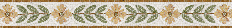 "5"" Ariano with Flower border, a hand-cut stone mosaic, shown in polished Crema Valencia, Chartreuse, Dijon Gold, and Thassos."