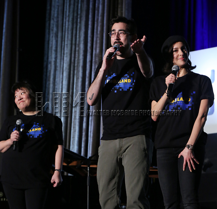 """Ann Harada, Max Crumm and Laura Schein from """"Emojiland"""" during the BroadwayCON 2020 First Look at the New York Hilton Midtown Hotel on January 24, 2020 in New York City."""