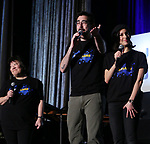 "Ann Harada, Max Crumm and Laura Schein from ""Emojiland"" during the BroadwayCON 2020 First Look at the New York Hilton Midtown Hotel on January 24, 2020 in New York City."