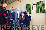 Bishop Ray Brown, Terry O'Sullivan (Principal), Fred Garvey (Board of Management), Jimmy Deenihan and pupils Sheola McElligott and Martin Laucher pictured at the official opening of Blennerville NS on Wednesday afternoon.
