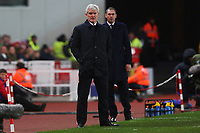 Stoke City manager Mark Hughes and Swansea City manager Paul Clement during the Premier League match between Stoke City and Swansea City at the bet365 Stadium, Stoke on Trent, England, UK. Saturday 02 December 2017