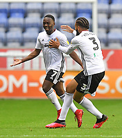 Fulham's Neeskens Kebano celebrates scoring his team's first goal to make the score 1-1<br /> <br /> Photographer Dave Howarth/CameraSport<br /> <br /> The EFL Sky Bet Championship - Wigan Athletic v Fulham - Wednesday July 22nd 2020 - DW Stadium - Wigan<br /> <br /> World Copyright © 2020 CameraSport. All rights reserved. 43 Linden Ave. Countesthorpe. Leicester. England. LE8 5PG - Tel: +44 (0) 116 277 4147 - admin@camerasport.com - www.camerasport.com