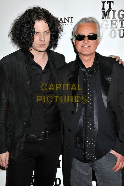 "JACK WHITE (The Dead Weather) & JIMMY PAGE (Led Zeppelin).""It Might Get Loud"" Los Angeles Premiere After Party held at the Palomar Hotel, Westwood, CA, USA..June 19th, 2009.half length White Stripes pale skin jacket arm over shoulder grey gray shirt black sunglasses shades .CAP/ADM/BP.©Byron Purvis/AdMedia/Capital Pictures."