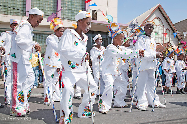 Trinidad Carnival, traditional mas, young sailors dancing sailor dance Friday Traditional Mas parade, Port of Spain