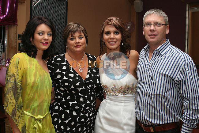 Shauna, Theresa, Sinead and Stephen Sweeney at Sinead's 21st in the Thatch...Photo NEWSFILE/Jenny Matthews.(Photo credit should read Jenny Matthews/NEWSFILE)....This Picture has been sent you under the condtions enclosed by:.Newsfile Ltd..The Studio,.Millmount Abbey,.Drogheda,.Co Meath..Ireland..Tel: +353(0)41-9871240.Fax: +353(0)41-9871260.GSM: +353(0)86-2500958.email: pictures@newsfile.ie.www.newsfile.ie.FTP: 193.120.102.198.