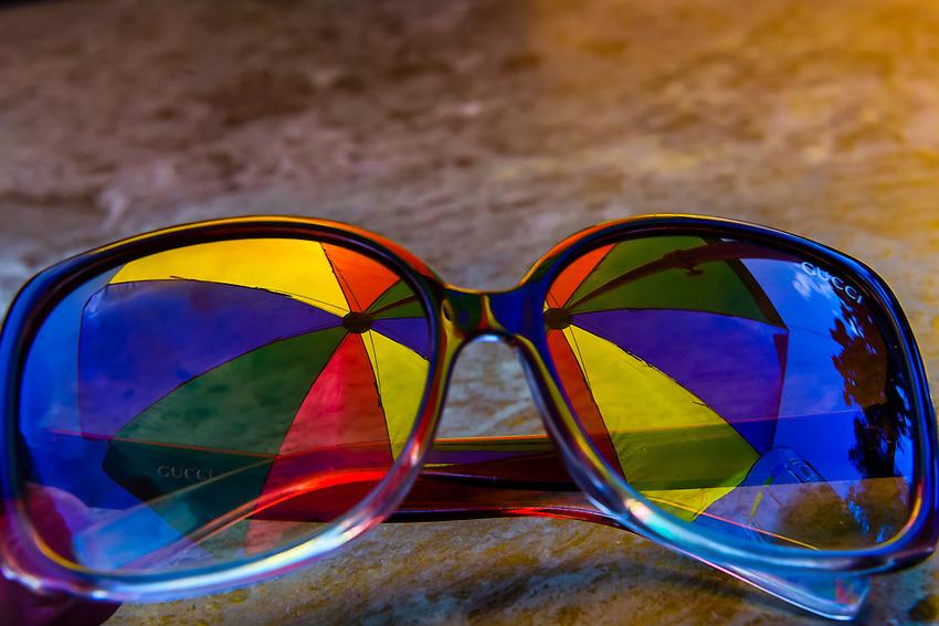 Umbrella reflected into sunglasses, Kathmandu, Nepal.