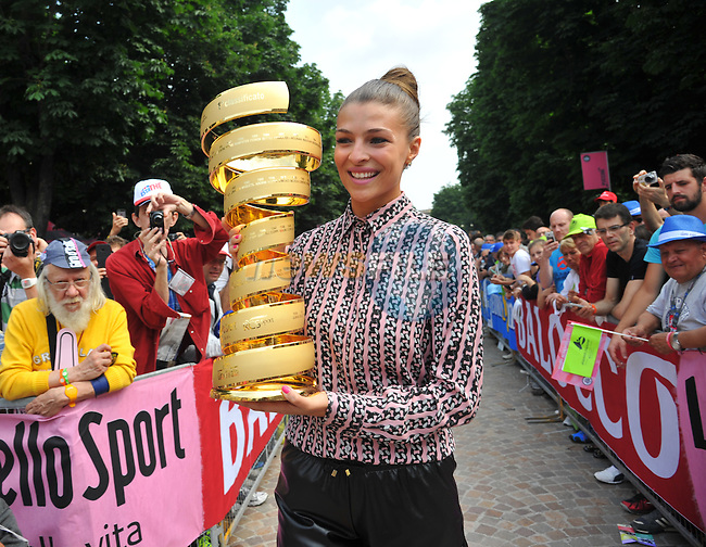 The winner's trophy on display before the start of Stage 21, the final stage, of the 98th Giro d'Italia 2015 running 178km from Turin to Milan. 31st May 2015. <br /> Photo: ANSA/Luca Zennaro/www.newsfile.ie