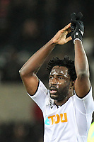 Wilfried Bony of Swansea City at full time during the Premier League match between Swansea City and Liverpool at the Liberty Stadium, Swansea, Wales on 22 January 2018. Photo by Mark Hawkins / PRiME Media Images.