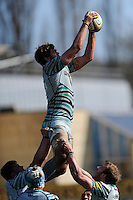Geoff Parling of Leicester Tigers wins the lineout during the Aviva Premiership match between Bath Rugby and Leicester Tigers at The Recreation Ground on Saturday 20th April 2013 (Photo by Rob Munro)
