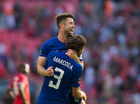 Chelsea's Gary Cahill celebrates with team mate Marcos Alonso at the final whistle <br /> <br /> Photographer Craig Mercer/CameraSport<br /> <br /> Emirates FA Cup Final - Chelsea v Manchester United - Saturday 19th May 2018 - Wembley Stadium - London<br />  <br /> World Copyright &copy; 2018 CameraSport. All rights reserved. 43 Linden Ave. Countesthorpe. Leicester. England. LE8 5PG - Tel: +44 (0) 116 277 4147 - admin@camerasport.com - www.camerasport.com