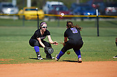 Nazareth College Golden Flyers Kristen Simmons (2) and Marissa Tortora (5) look to field a ground ball during a game against the Edgewood Eagles on March 12, 2017 at North Collier Park in Fort Myers, Florida.  (Mike Janes/Four Seam Images)