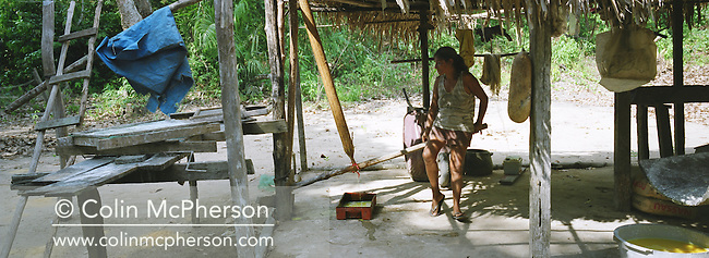 A woman living in a village on the banks of the Tapajos river producing farinha, an Amazonian staple used as a food garnish and made from manioc, a root crop found locally. Once the farinha had been made, it was taken to nearby towns in 50kg sacks to be sold. Villagers along the river lived from fruit and vegetables harvested from the rainforest but suffered the effects of deforestation as the rainforest was cleared by illegal logging and burning for cattle ranching and growing soy beans for export.