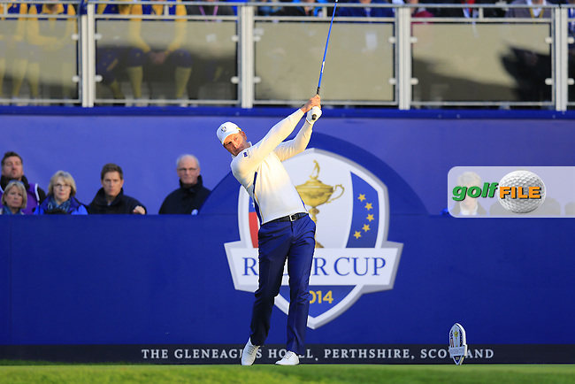 Henrik Stenson (EUR) tees off the 1st tee to start Saturday Mornings Fourball Matches of the Ryder Cup 2014 played on the PGA Centenary Course at the Gleneagles Hotel, Auchterarder, Scotland.: Picture Eoin Clarke, www.golffile.ie : 27th September 2014