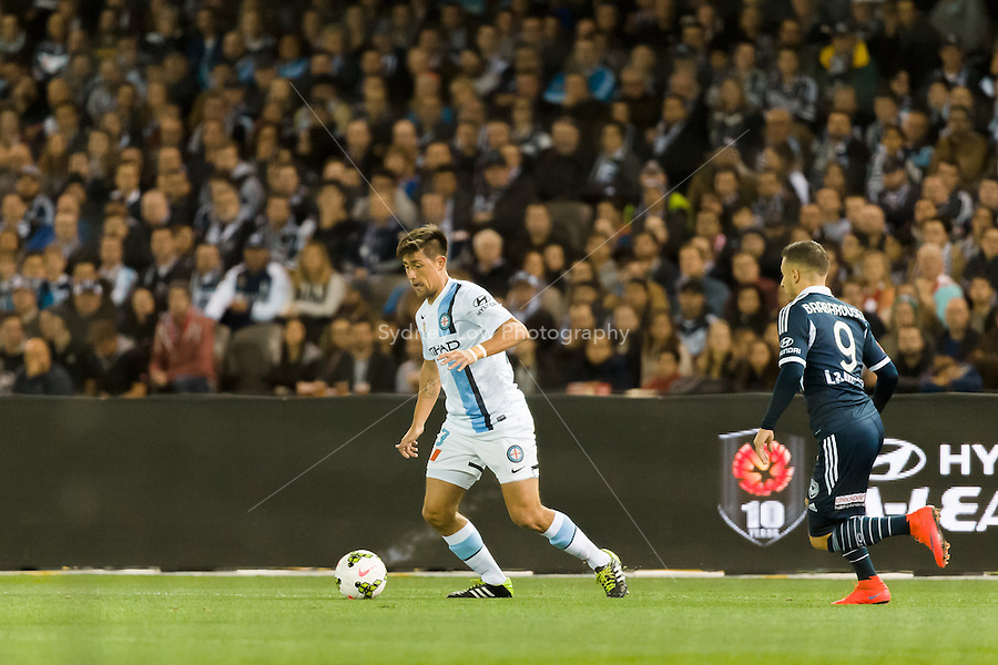 Action from the semi final match between Melbourne Victory and Melbourne City in the Australian Hyundai A-League 2015 season at Etihad Stadium, Melbourne, Australia.<br /> This photo is not for sale. Contact zumapress.com for editorial licensing.