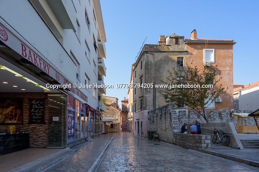 Zadar, Croatia. 14.10.2018. Street next to the market, Hrvojav Hrvatnica, rebuilt after the Homelands War of 1991, Old Town, Zadar, Croatia. Photograph © Jane Hobson.
