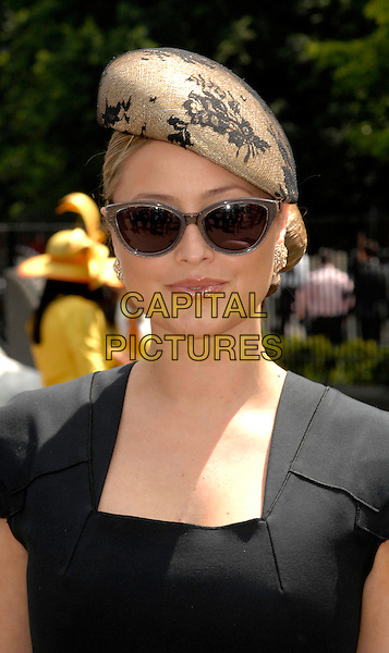Holly Valance .Day 1 of Royal Ascot at Ascot Racecourse, Ascot, England..June 14th, 2011.headshot portrait beige black grey gray lace beret .CAP/WIZ.© Wizard/Capital Pictures.