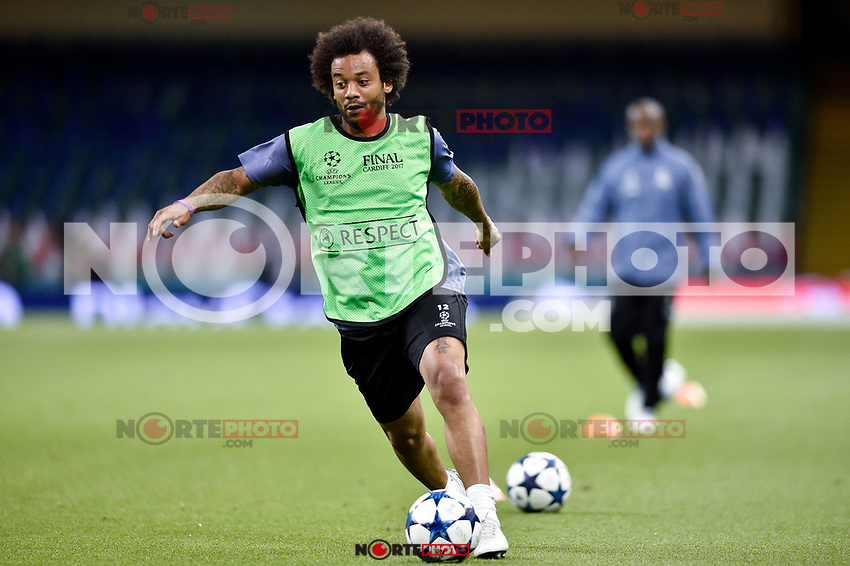 Marcelo of Real Madrid during the training session ahead the UEFA Champions League Final between Real Madrid and Juventus at the National Stadium of Wales, Cardiff, Wales on 2 June 2017. Photo by Giuseppe Maffia.<br /> Giuseppe Maffia/UK Sports Pics Ltd/Alterphotos /NortePhoto.com
