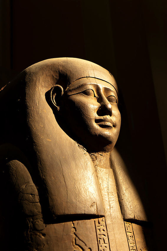 A wooden coffin of the high priest Petosiris from the Greek period around 300 B.C., in the main entrance hall of the Egyptian Museum, Cairo, Egypt