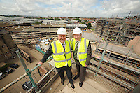 Alex Neil, Minister for Housing and Communities (l) and John Gallacher MD of Cruden Estates Ltd (r) launch a 2.1million funding package for first time buyers in Govan.....