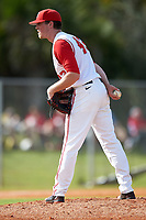 Ohio State Buckeyes starting pitcher Adam Niemeyer (43) looks in for the sign during a game against the Illinois State Redbirds on March 5, 2016 at North Charlotte Regional Park in Port Charlotte, Florida.  Illinois State defeated Ohio State 5-4.  (Mike Janes/Four Seam Images)