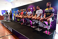 (L-R) Matthieu Lartot of France Televisions, Rodolphe Pres of beIN SPORTS, Sergio Paris of Stade Franais Paris, Duane Vermeulen of Toulon, Mathieu Babillot of Castres, Dimitri Szarzewski of Racing 92, Louis Picamoles of Montpellier, Damien Chouly of Clermont, James Eaton of La Rochelle during the European Rugby Champions Cup and Challenge Cup 2017/2018 season launch for Top14 clubs on October 4, 2017 in Paris, France. (Photo by Dave Winter/Icon Sport)
