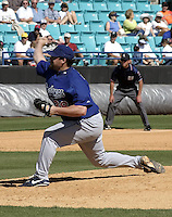 April 1, 2004:  Pitcher Eric Gagne of the Los Angeles Dodgers organization during Spring Training at Space Coast Stadium in Melbourne, FL.  Photo copyright Mike Janes/Four Seam Images