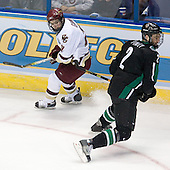 Pat Gannon (Boston College - Arlington, MA), Joe Finley (University of North Dakota - Edina, MN) - The Boston College Eagles defeated the University of North Dakota Fighting Sioux 6-4 in their 2007 Frozen Four semi-final on Thursday, April 5, 2007, at the Scottrade Center in St. Louis, Missouri.