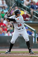 Indianapolis Indians outfielder Miles Durham #28 during a game against the Rochester Red Wings at Frontier Field on June 18, 2011 in Rochester, New York.  Rochester defeated Indianapolis 12-7.  (Mike Janes/Four Seam Images)
