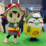 March 22, 2012, Tokyo, Japan - Mascot characters from Iwate Prefecture, one of the hardest hit areas in the March 11 earthquake and tsunami, pose for visitors at the Tokyo International Animation Fair 2012 opened at Tokyo Big Sight on Thursday, March 22, 2012. A total of 216 companies and organizations, including 89 from overseas, took part in the annual cultural festival of comics and animations. The organizers expect to draw more than 30,000 visitors during the four-day exhibition. (Photo by Kaku Kurita/AFLO) FYJ -mis-