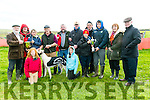 Winner of the White Sands Hotel Cup and Paddy Reidy Memorial Trophy was Essential owned by Tadhg O'Sullivan from Ballyduff at the Ballyheigue Coursing on Sunday. Pictured Jimmy Browne presenting the  White Sands Hotel Cup with  Jessica O'Sullivan,  Sarah O'Sullivan, Serena O'Sullivan  TJ O'Sullivan, Maurice McElligott, Pat McCarthy  Tadhg O'Sullivan, Anthony O'Sullivan, Michael Leary, Bet Reidy, Micheal Reidy, DJ Histon