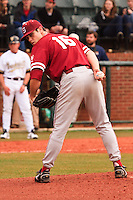 NASHVILLE, TENNESSEE-Feb. 27, 2011:  Starter Jordan Pries of Stanford eyes a runner during the game at Vanderbilt.  Stanford defeated Vanderbilt 5-2.
