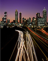 Atlanta, GA skyline at dusk, from Jackson Street Bridge. Atlanta, Georgia.